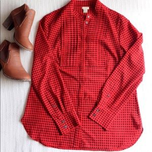 J crew long sleeve red shirt size m